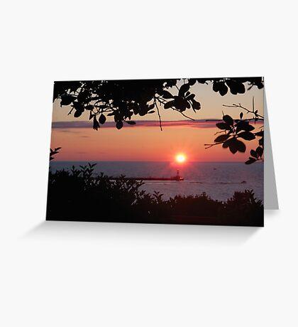 Petoskey Michigan Sunset over Petoskey Pierhead lighthouse Greeting Card
