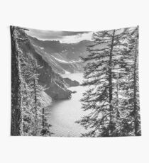 Mountains and Forest Lake Water - Black and White Crater Lake Oregon Wall Tapestry