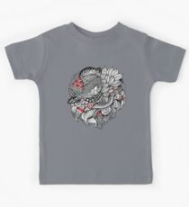 hand drawn fine line black and red fantasy   Kids Tee