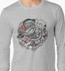 hand drawn fine line black and red fantasy   Long Sleeve T-Shirt