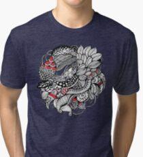hand drawn fine line black and red fantasy   Tri-blend T-Shirt