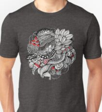hand drawn fine line black and red fantasy   T-Shirt