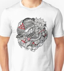 hand drawn fine line black and red fantasy   Unisex T-Shirt