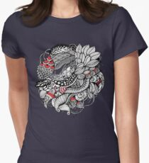 hand drawn fine line black and red fantasy   Women's Fitted T-Shirt
