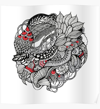 hand drawn fine line black and red fantasy   Poster