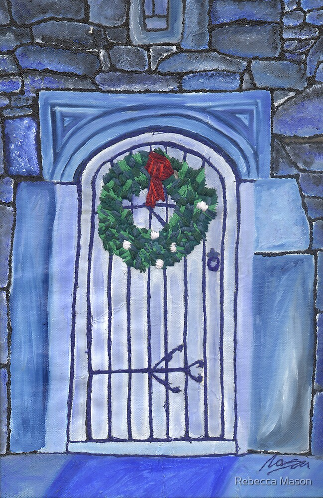 Blue Christmas Greetings by Rebecca Mason