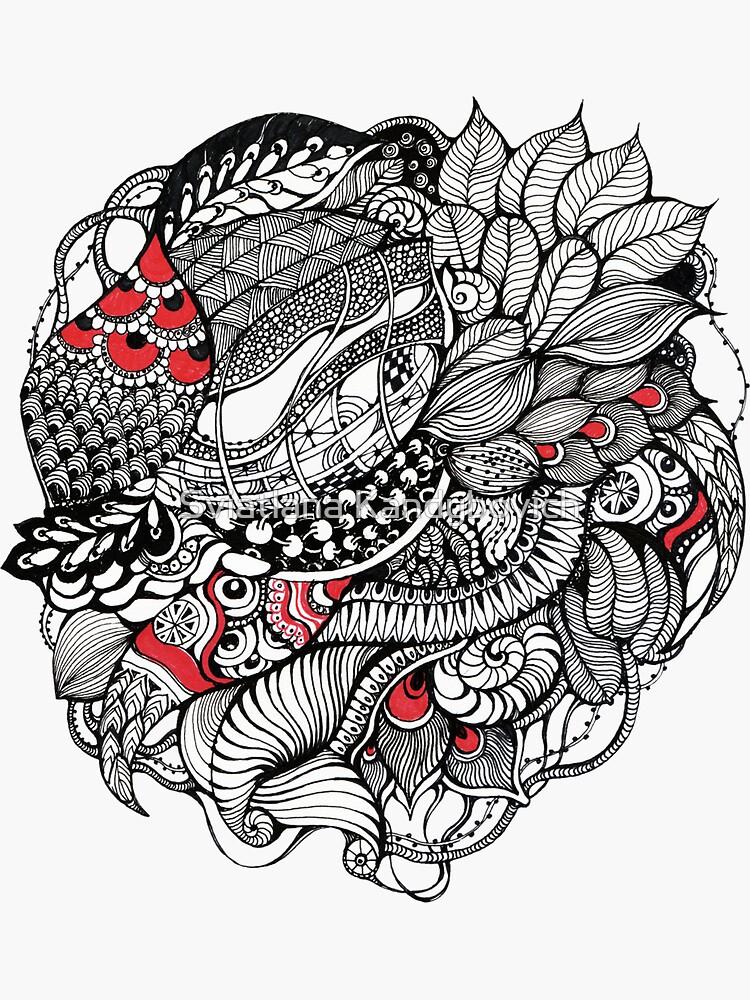 Hand gezeichnete feine Linie schwarze und rote Fantasie von kanvisstyle