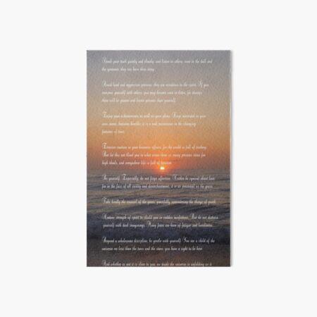 The DESIDERATA Art Board Print