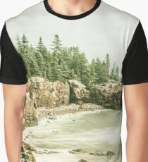Ocean Forest Sea Water - Rocky Beach in Acadia National Park Maine Graphic T-Shirt