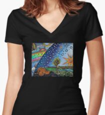 Flammarion Woodcut Flat Earth Design Women's Fitted V-Neck T-Shirt