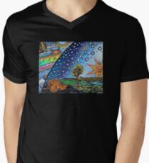 Flammarion Woodcut Flat Earth Design Men's V-Neck T-Shirt