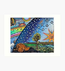 Flammarion Woodcut Flat Earth Design Art Print