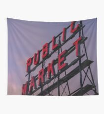 Travel Sunset Pink Pike Market in Seattle Washington Cascadia Wall Tapestry