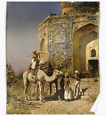 Edwin Lord Weeks - The Old Blue-Tiled Mosque Outside Of Delhi, India 1885 Poster