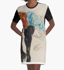 Egon Schiele - Blond Girl, Leaning Forward With Black Stockings 1912 Graphic T-Shirt Dress