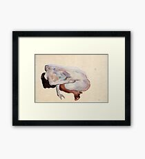 Egon Schiele - Crouching Nude In Shoes And Black Stockings, Back View Framed Print