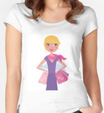 Shopping girl : purple, pink Edition Women's Fitted Scoop T-Shirt