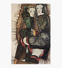 Egon Schiele - Two Girls On A Fringed Blanket 1911 Photographic Print
