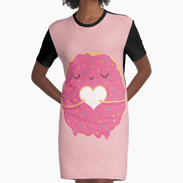 Pink Sprinkle Doughnut with Love Heart Graphic T-Shirt Dress