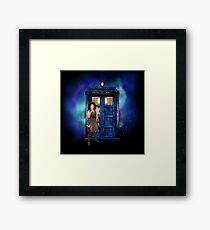 BeautifuL Blondie Mrs River with blue phone box Framed Print
