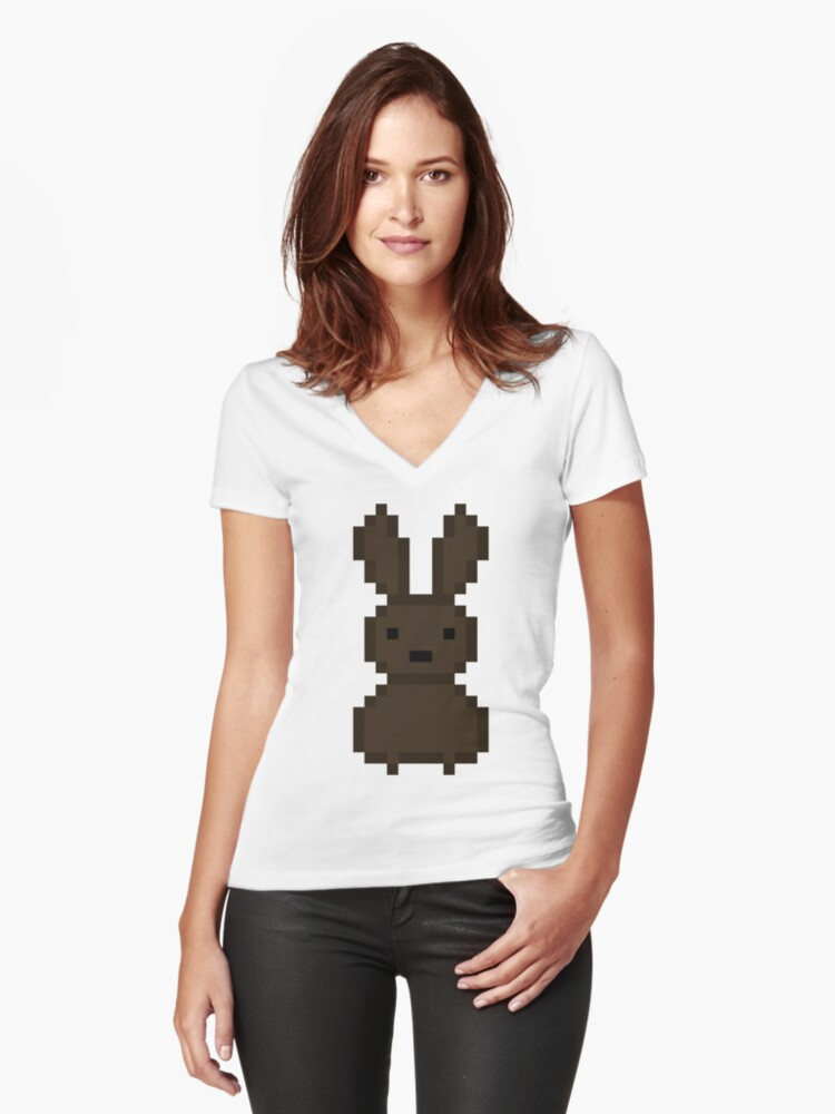 Brown bunny Women's Fitted V-Neck T-Shirt Front
