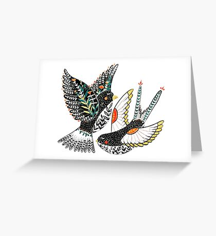 Sparrow & Swallow Greeting Card