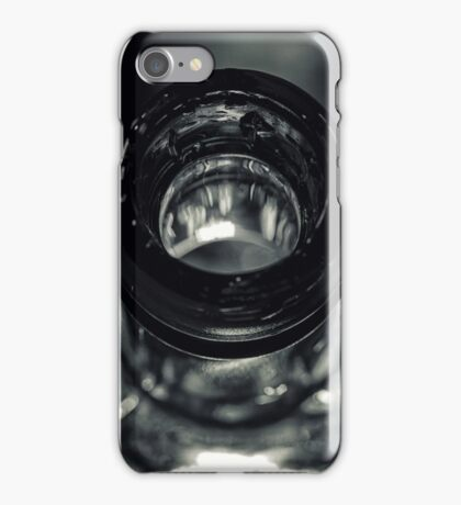 macro photograph of a small green glass bottle iPhone Case/Skin