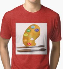 two brushes and paint Tri-blend T-Shirt