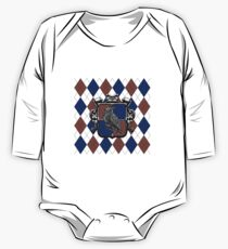 Raven House Crest on Argyle One Piece - Long Sleeve