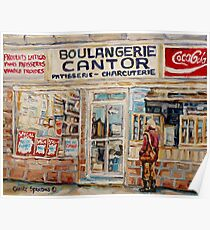 SHOPPING AT THE LOCAL BAKERY BOULANGERIE CANTOR MONTREAL CITY SCENES PAINTINGS Poster