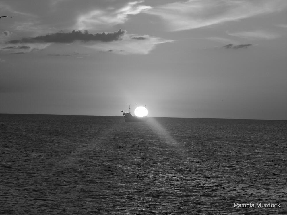 Ship in the Sunset by Pamela Murdock
