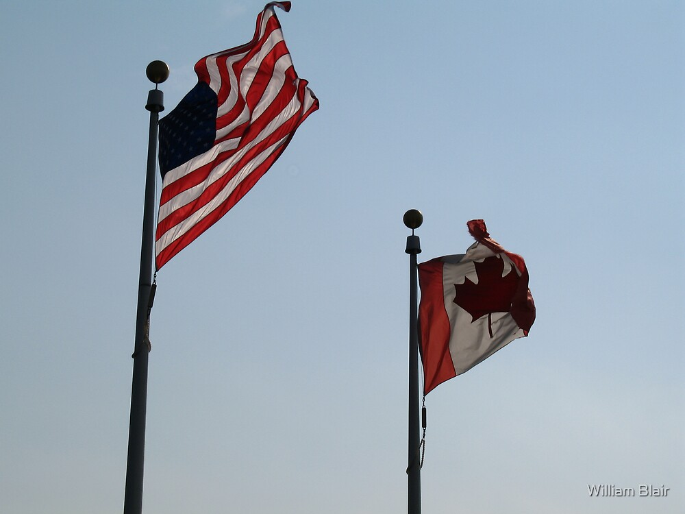 Canadian & American Flags by William Blair