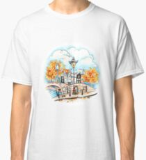 Amsterdam houses, bridges and streetlight Classic T-Shirt