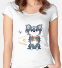 Вog black longhaired Chihuahua Women's Fitted Scoop T-Shirt