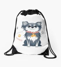 Вog black longhaired Chihuahua Drawstring Bag