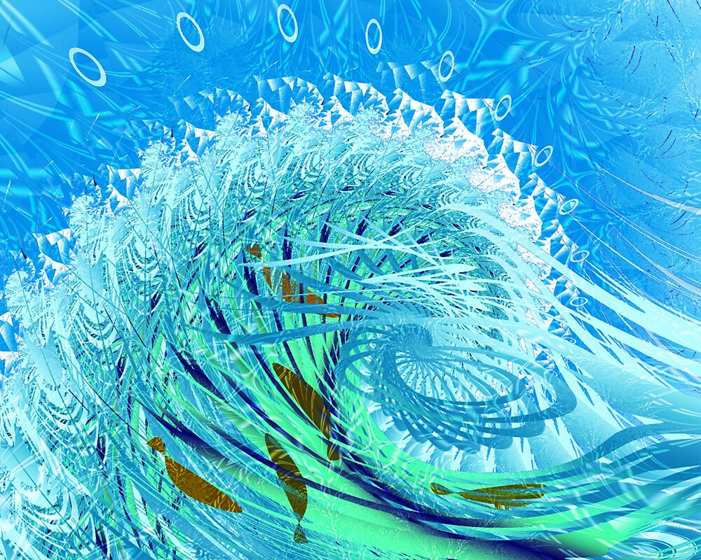 """Fractal: """"Playing in the surf"""" by Freda Surgenor"""