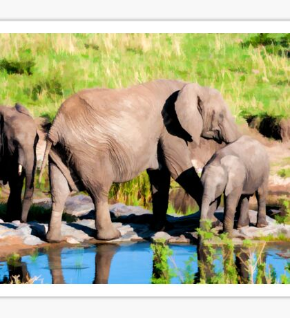Elephants at a Watering Hole Sticker