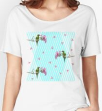 Parakeet and flowers Women's Relaxed Fit T-Shirt