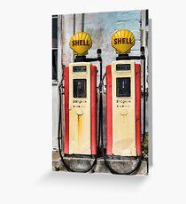 Old Petrol Pumps Greeting Card