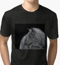 Winter is Coming Arctic White Wolf Artwork Tri-blend T-Shirt