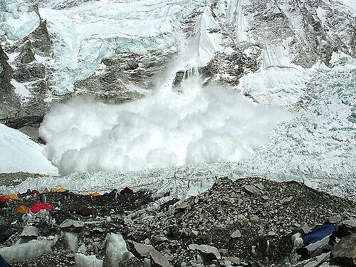 An avalanche falling off the West face of Everest by Sarah Jones