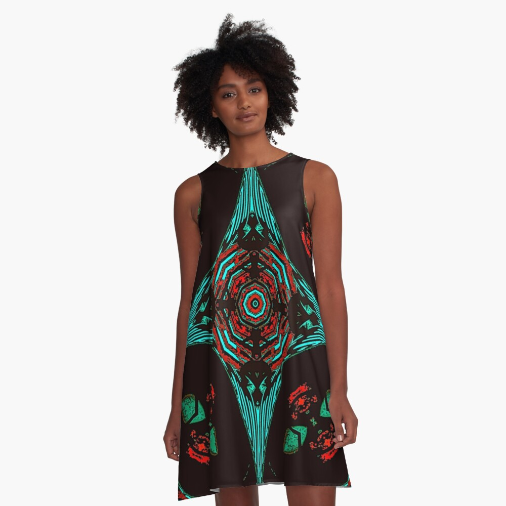 African Tribal Desire ll  A-Line Dress Front