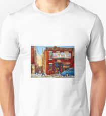 STREET HOCKEY GAME NEAR THE BAGEL SHOP FAIRMOUNT BAGEL MONTREAL WINTER STREET SCENE PAINTINGS T-Shirt