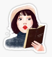French woman with book Sticker