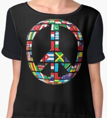 peace symbol with country flags uniting all in to peace symbol - Gift Idea for Women Men Boys And Girls Chiffon Top