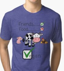 Vegan Animal Rights Animals are Friends and Not Food - Gift Idea for Women Men Boys And Girls Tri-blend T-Shirt