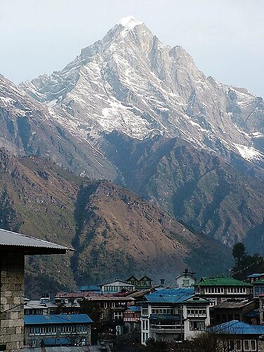 A view over Lukla to the mountains by Sarah Jones