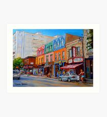 BIKING PAST THE DELI ON RUE ST.LAURENT MONTREAL PAINTINGS AND SCENES Art Print