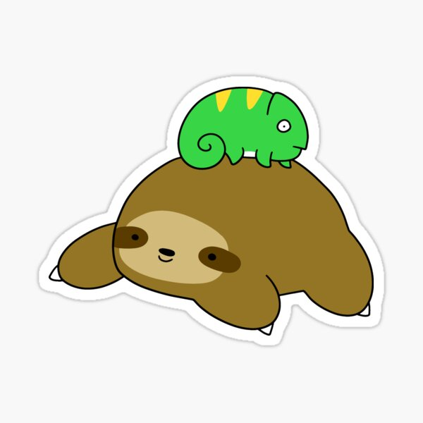 Sloth and Little Chameleon Sticker