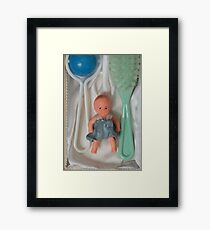 Vintage gift for a newborn baby Doll brush rattle Framed Print